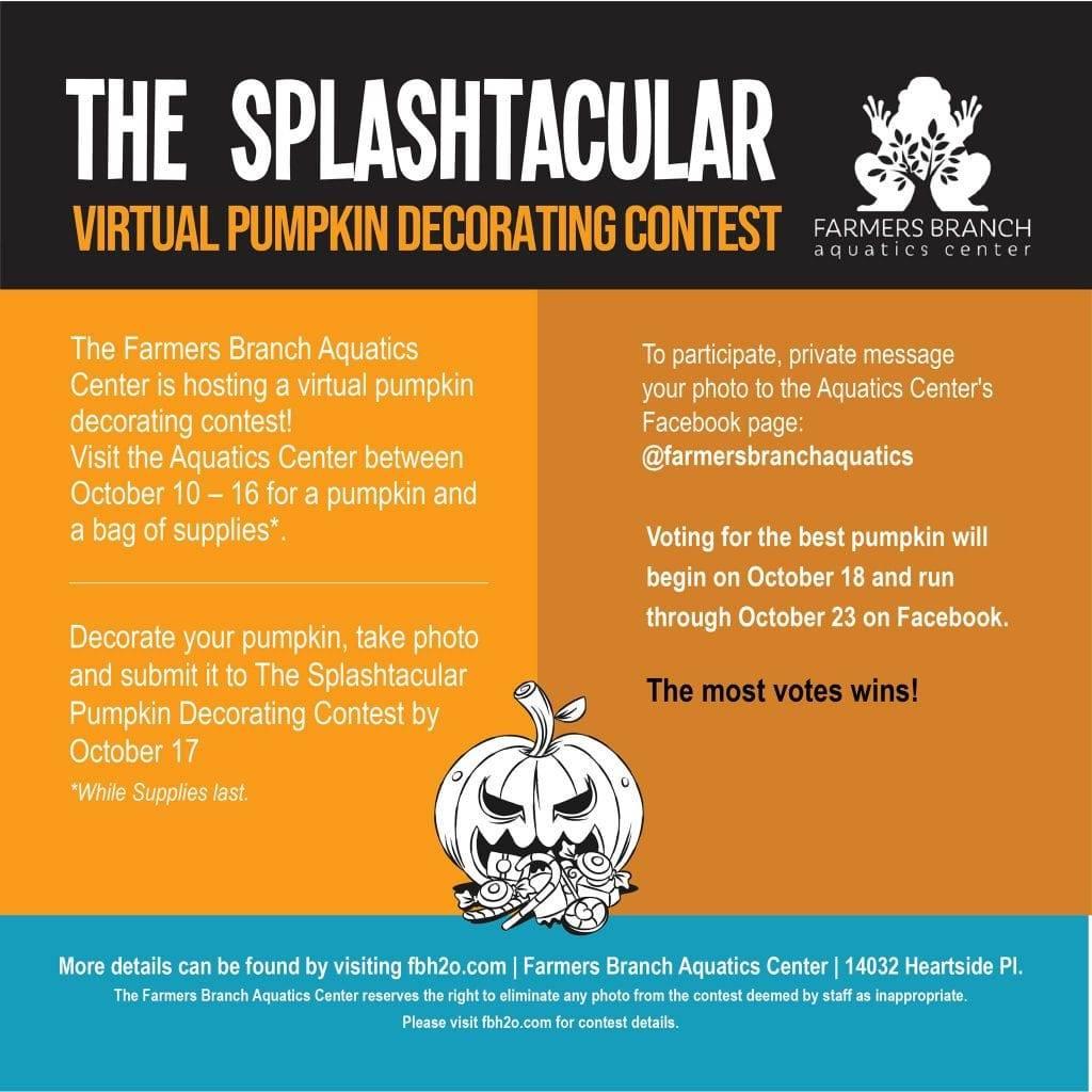 Farmers Branch Aquatics Center Splashtacular Virtual Pumpkin Decorating Contest