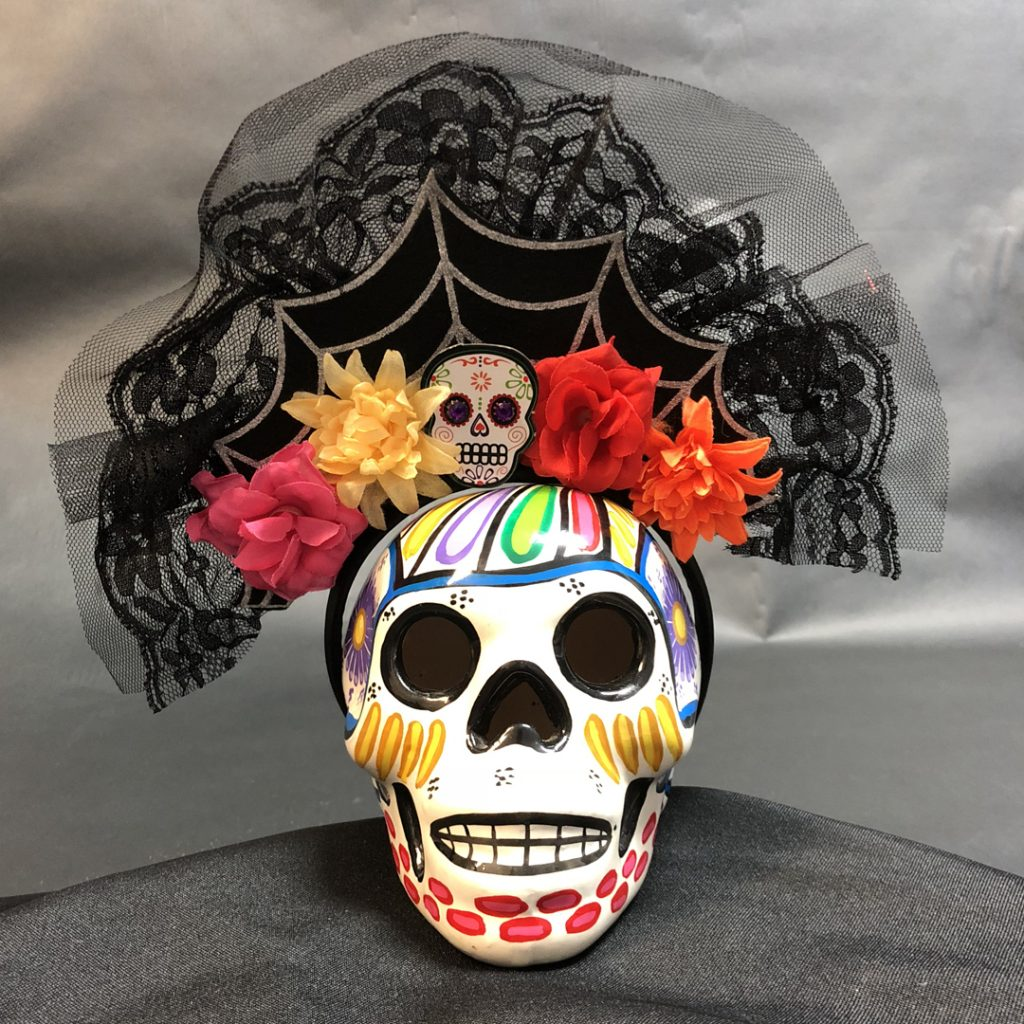 Skull decorated for day of the dead celebration