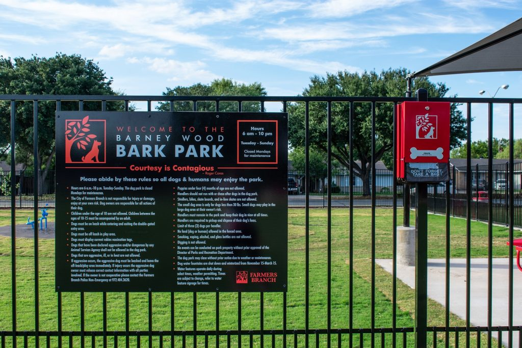 Barney Wood Bark Park Farmers Branch Rules
