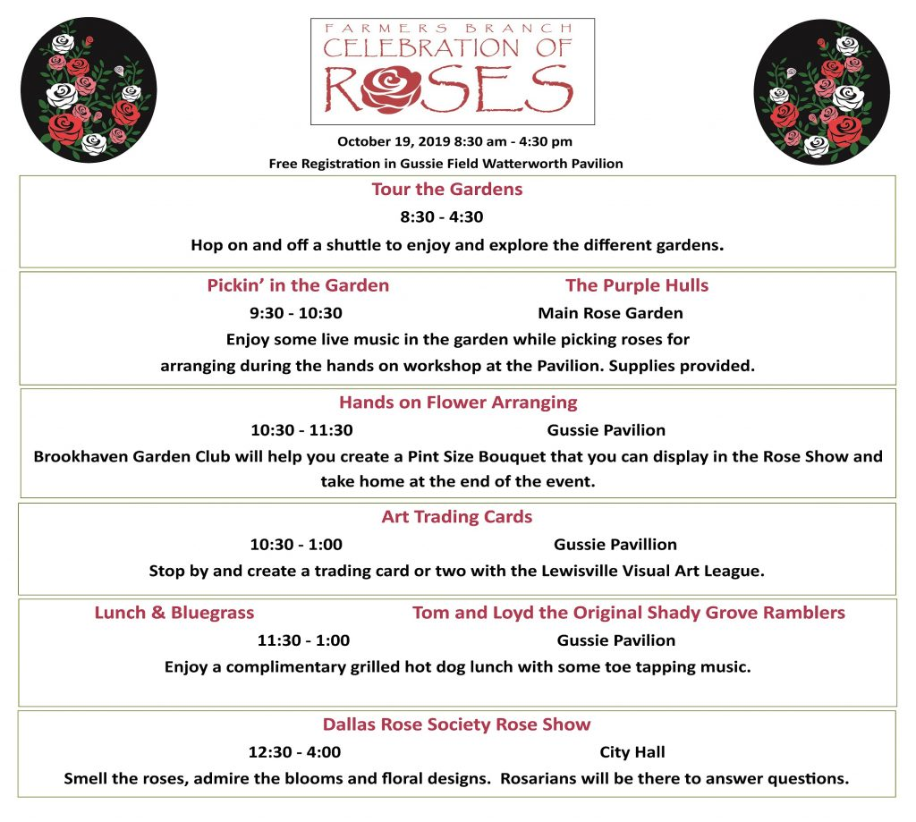 Celebration of Roses Schedule Bloomin' Bluegrass Festival Farmers Branch
