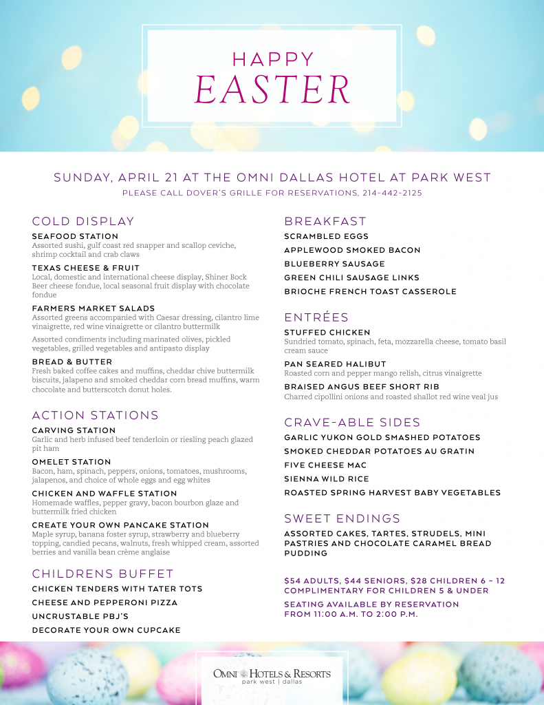 Easter Brunch Menu Omni Dallas Hotel at Park West Dover's Grille near Farmers Branch