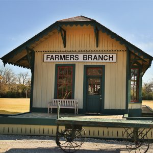 Structures in Farmers Branch: Railroad Depot & Caboose