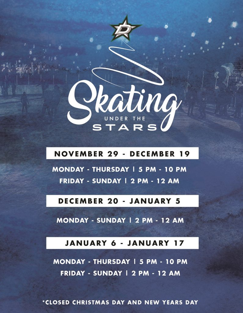Skating Under The Stars at Dallas StarCenter in Farmers Branch for Christmas In The Branch